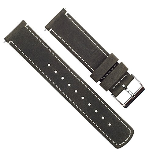 Barton Quick Release Top Grain Leather Watch Band Strap - Choose Color - 16mm, 18mm, 20mm, 22mm or 24mm - Espresso/Linen 24mm by Barton Watch Bands (Image #1)