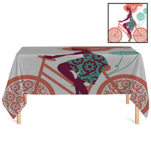 SATVSHOP Dust-Proof Table Cover /36x36 Square,Floral Flower rations Silhouette of a Long Hair Girl on Bicycle Illustration Coral and Seafoam.for Wedding/Banquet/Restaurant.