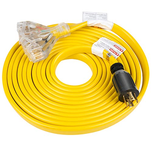 25 Feet Heavy Duty Generator Extension Cord,Generator Locking cord,NEMA L14-30P/Four 5-20R, 4 Prong 10 Gauge Flat Flexible Generator Cable, 30Amp 7500 Watts UL Listed Yodotek