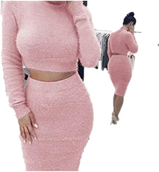 Iumer 2pcs Women Sweater Skirt Set Autumn Winter Long Sleeve High Collar Cropped Top and Pencil Skirt Knitted Suit,Black,S