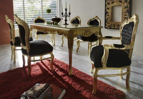 Baroque de salle à manger avec 1 table à rallonge et 6 chaises ...