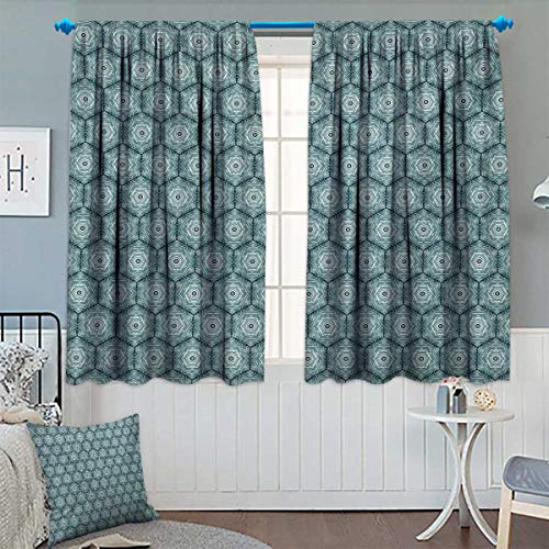 Chaneyhouse Abstract Thermal Insulating Blackout Curtain Growth Rings Themed Bullseye Style Hand Drawn Circles and Hexagons Patterned Drape for Glass Door 55