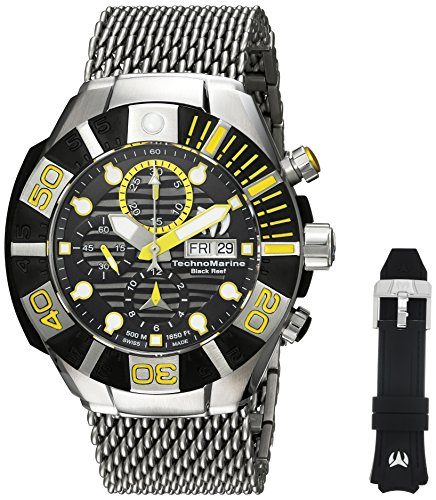 (Technomarine Men's Reef Stainless Steel Automatic-self-Wind Watch with Silicone Strap, Two Tone, 29 (Model: TM-515022))
