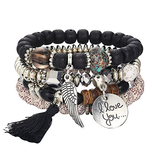 Botrong Bracelet, Hot Jewelry Multi-Layer Colorful Beads Coin Tassel Bracelets Metal Bracelet (D)