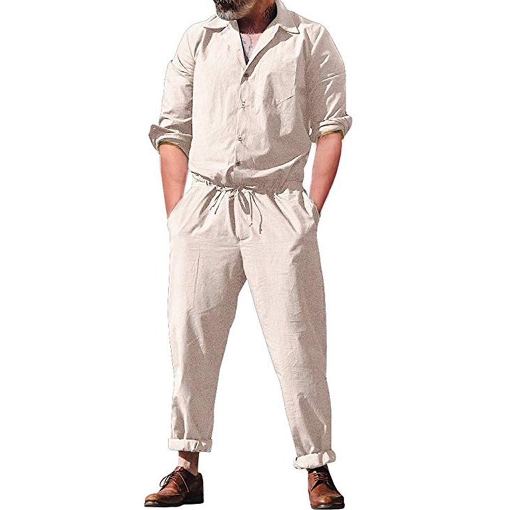 XBRECO Mens Long Sleeve Cargo Overalls Pant Romper, Drawstring Jumpsuits Workwear