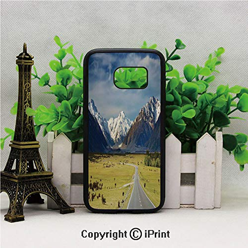 - Landscape with Road and Snow Capped Mountains Southern Alps New Zealand Picture Samsung S7 Case for Girls Women Hard Back Shock Drop Proof Impact Resist Protective Case for Samsung S7 Navy White Olive