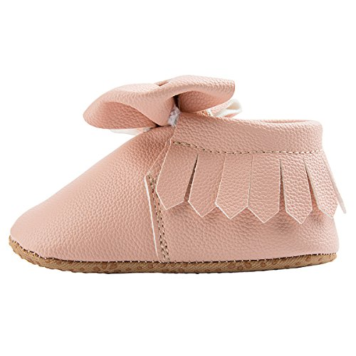 Dicry Baby Girls Leather Moccasins Elastic Cuffs Non-Slip Soft Sole Crib Shoes With Tassel Bowknot For 12-18 Months Toddler Pink - Image 2
