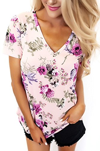 TrendiMax Women Floral Printed Blouse Short Sleeve Casual Loose Tops T Shirt Tunic (Floral Vintage Sport Shirt)