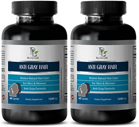 Hair Support Supplement - Anti Gray Hair 1200 MG - Restore Natural Hair Color - pantothenic Acid Supplement - 2 Bottles 120 Capsules