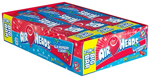 Airheads Melle Van (Airheads Candy 2-in-1 Big Bar, Blue Raspberry and Cherry, Stocking Stuffer, Gift, Holiday, Christmas, 1.50 Ounce (Bulk Pack of 24))