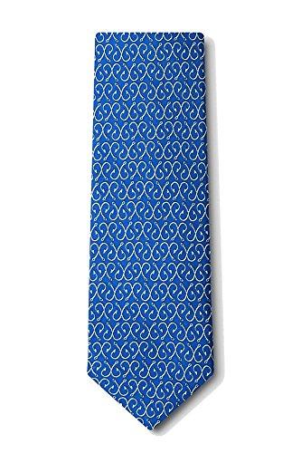 Men's 100% Silk Blue Off The Hook Fish Hooks Necktie Tie Neckwear (Novelty Alynn Blue Silk Ties)