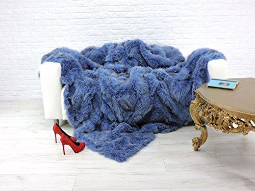 CuddlyDreams Luxury genuine fox fur throw, blanket, dyed blue colour, 220cm x 200cm, -