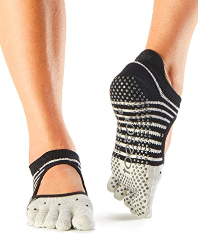 Toesox Women's Bellarina Full Toe Grip Socks (Shimmey) Medium