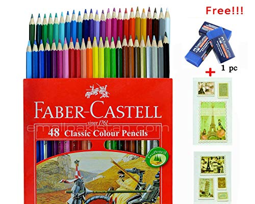 Colored Pencil Faber Castell 48 Color Best Colored Pencil for Adult Coloring Book with Free Premium Faber Castell (Best Faber Castell Coloring Pencils For Adult Coloring Books)