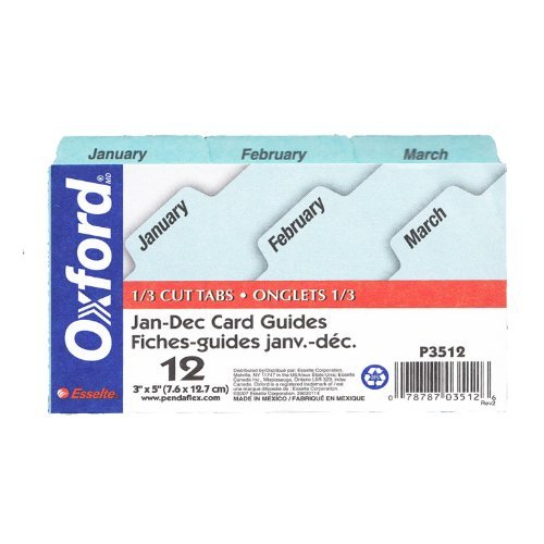 Index Dividers Pendaflex - Oxford(R) Monthly Index Card Guides, 3in. x 5in. Jan.-Dec.
