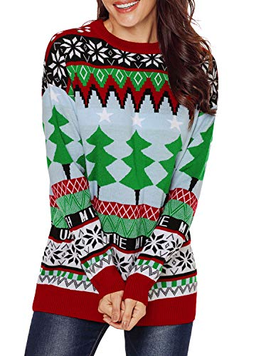 Sidefeel Women Christmas Fashion Sweater with Christmas Trees Large -