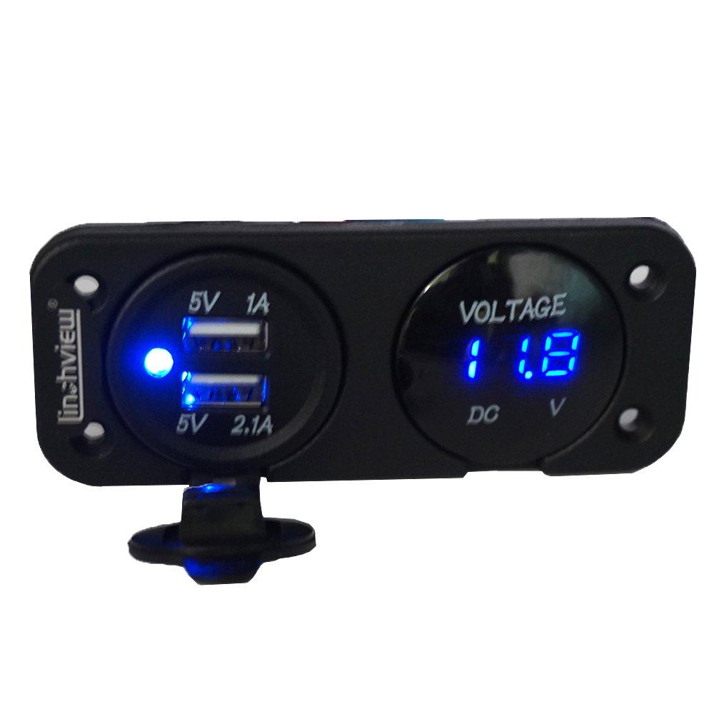 linchview Digital Voltmeter e Dual UBS 3.1 a caricatore per auto barca camion Marine motociclo ATV RV veicoli GPS Cellulare Fotocamera MP3 5826889039