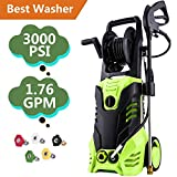 Tomasar Electric Power Pressure Washer 3000 PSI 1.8GPM High Pressure Washer Cleaner Machine with 5 Quick-Connect Spray Nozzles (Upgraded(3000PSI))