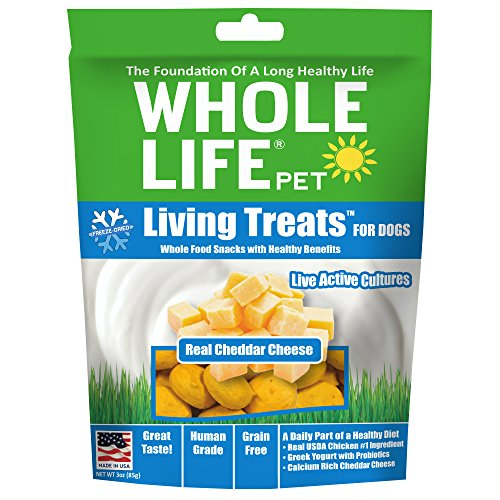 Whole Life Pet Living Treats Freeze Dried Probiotic Treats For Dogs With Real Cheddar Cheese, 3Oz