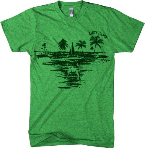 Amity Island T Shirt Cool Vintage Jaws Shark Tee L