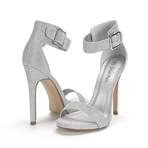 DREAM PAIRS ELEGANTEE Women's Evening High Heels Open Toe Ankle Strap Platform Casual Stiletto Pumps Sandals SILVER GLIT Size 9.5