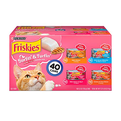 Purina Friskies Wet Cat Food Variety Pack; Surfin' & Turfin' Prime Filets Favorites - (40) 5.5 oz. Cans