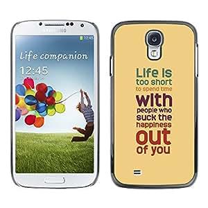 Qstar Arte & diseño plástico duro Fundas Cover Cubre Hard Case Cover para SAMSUNG Galaxy S4 IV / i9500 / i9515 / i9505G / SGH-i337 ( Life Inspiring Quote Brown Red Teal)
