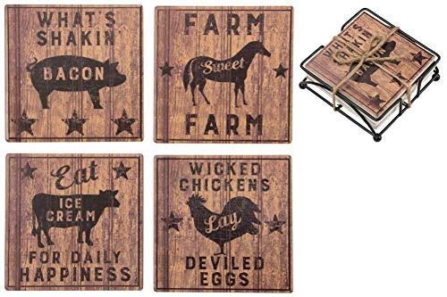 (Primitives by Kathy Farmhouse Decorative Stone Coasters, Set of 4 )