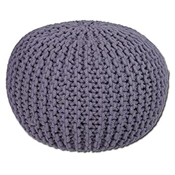 Furniture Ottomans & Footstools Round Cotton Knitted Pouffe Ball Large 50cm Foot Stool Braided Cushion Seat Rest