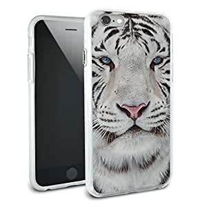 White Bengal Tiger with Blue Eyes Protective Slim Hybrid Rubber Bumper Case for Apple iPhone 6 6s