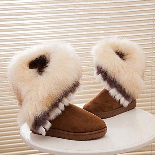 marrone Snow Neve Stivali Scarpe Classico Autunno Boots Donna Inverno tacco col hibote Donna aaxq7vw6