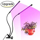Dual Head Plant Grow Light 18W Dimmable 2 Levels Plant Grow Lamp Lights Bulbs with Adjustable Switch 360 Degree Gooseneck for Indoor Plants Hydroponics Greenhouse Home