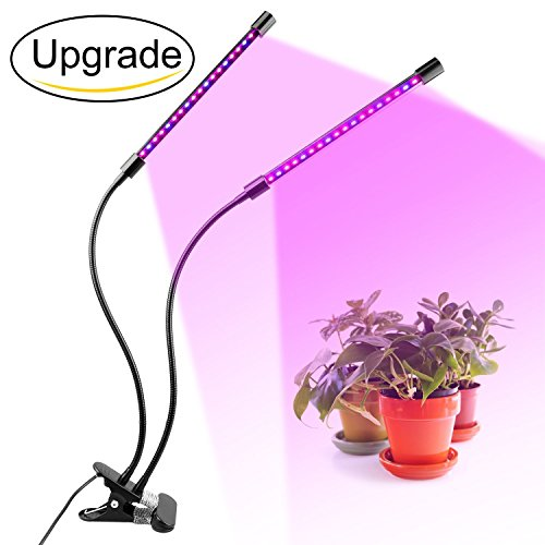 Dual Head Plant Grow Light 18W Dimmable 2 Levels Plant Grow Lamp Lights Bulbs with Adjustable Switch 360 Degree Gooseneck for Indoor Plants Hydroponics Greenhouse Home by Bashley