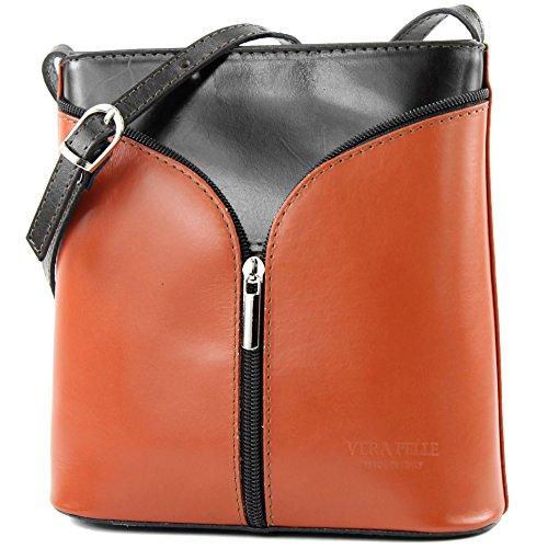 D19 small handbag shoulder shoulder bag bag women's ostrich Dark Cognac Brown Italian bag fqwzAA