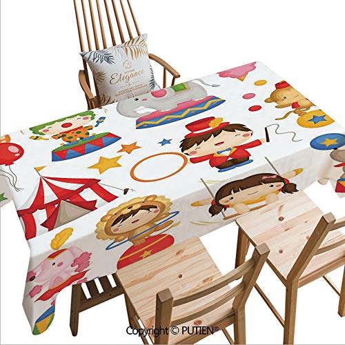 SCOCICI Floral Print Rectangular Tablecloth Carnival Circus Happy Children Girl Boy Hat Cotton Candy Stars Swing Lion Decorative Dust-Proof Table Cover for Dinning Tabletop Decor,W104xL60(inch)