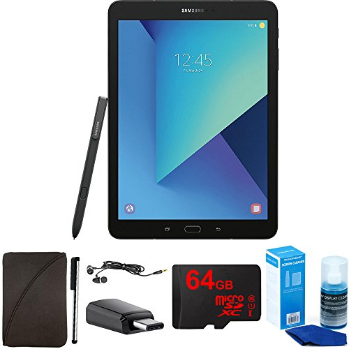 Samsung Galaxy Tab S3 9.7 Inch Tablet with S Pen - Black - 64GB Accessory Bundle includes 64GB MicroSD High-Speed Memory Card, Protective Sleeve, Stylus, USB-C Adapter, Screen Cleaner and Earbuds
