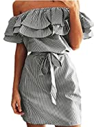 Face N Face Women's Casual Off Shoulder Striped Ruffles Strapless Short Dresses Mini Dresses