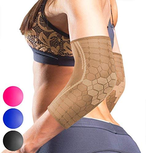Sparthos Elbow Compression Sleeves (Pair) – Tendonitis Elbow Brace Golfers Tennis Elbow Support for Men and Women – Arthritis Bursitis Treatment Youth Kids Athletic Sport Basketball (Beige-XL)
