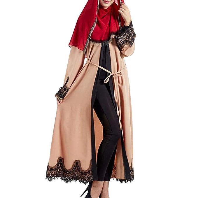uirend Mujeres Empalme Islámico Marroquí Jalabiyas - Musulmanes Vestido Encaje Verano Maxi Largo Manga Largo Abrigo Campana Manga Suelta Caftan Abaya Togas ...