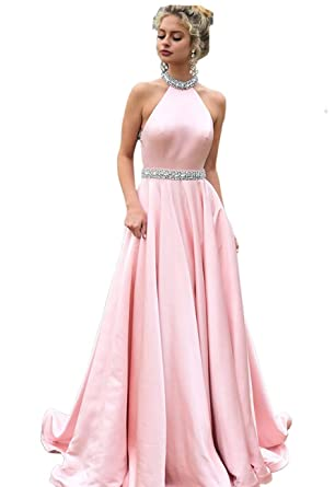 7070d62380e 2019 Halter Prom Dresses Backless Neckline Rhinestone Beaded Formal Satin Evening  Ball Gowns with Pockets HFY202