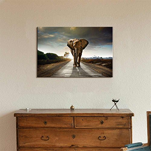 Large Elephant Walking Behind a Dark Cloudy Sky Wall Decor ation