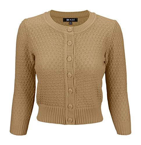 YEMAK Women's 3/4 Sleeve Crewneck Cropped Button Down Knit Cardigan Sweater MK3514-TAN-M