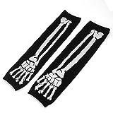 uxcell Bone Pattern Knitting Thumbhole Winter Fingerless Arm Gloves Black