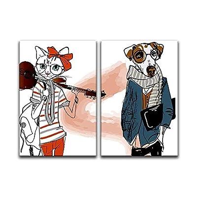 Made to Last, Amazing Visual, 2 Panel Cartoon Animals Miss Cat and Mr Dog x 2 Panels