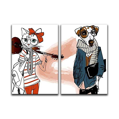 2 Panel Cartoon Animals Miss Cat and Mr Dog x 2 Panels