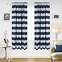 Deconovo Navy Blue Striped Blackout Curtains Rod Pocket...