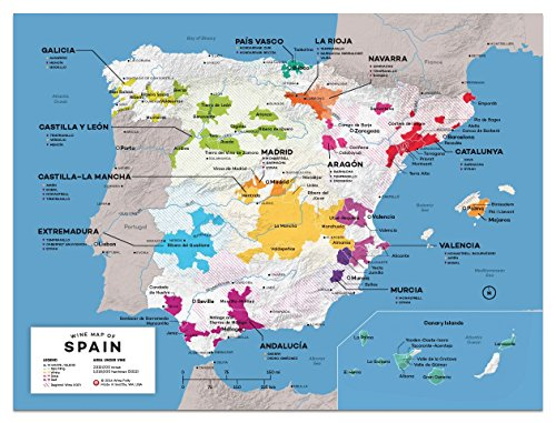 Wine Folly Spain Wine Map Poster Print, 12'' x 16'' by Wine Folly