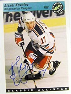 Autograph Warehouse 30889 Alexei Kovalev Autographed 11X14 Photo New York Rangers Binghampton Rangers Card Blowup Photo