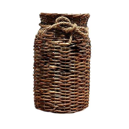 Artisan Floral Arrangement - POPGRAT 12'' High Wood Cylinder Vase Flower Vase Nesting Basket Ideal Gift for Rustic Home Decor/Wedding/Special Occasion/Dired Floral Arrangement/Table Centerpieces Decorations