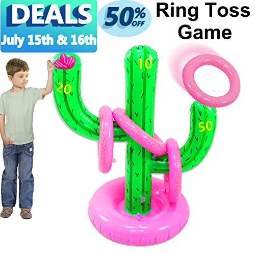 AMENON Inflatable Ring Toss Game, Floating Swimming Cactus Ring Toss Water Toys Set for Pool Games for Kids Adult Indoor Outdoor Game Party Favors Decoration Supplies Kids Game Toy Gifts (Cactus) -